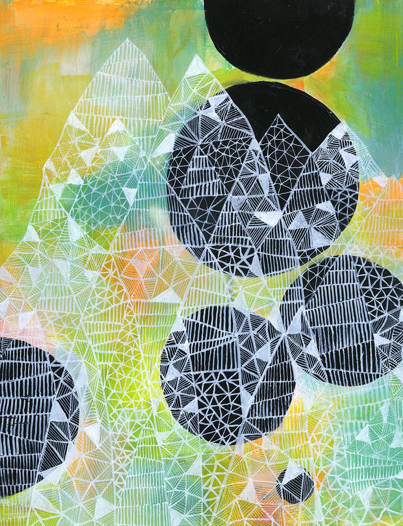 'Ghost Mountain', acrylic on masonite panel, 2014