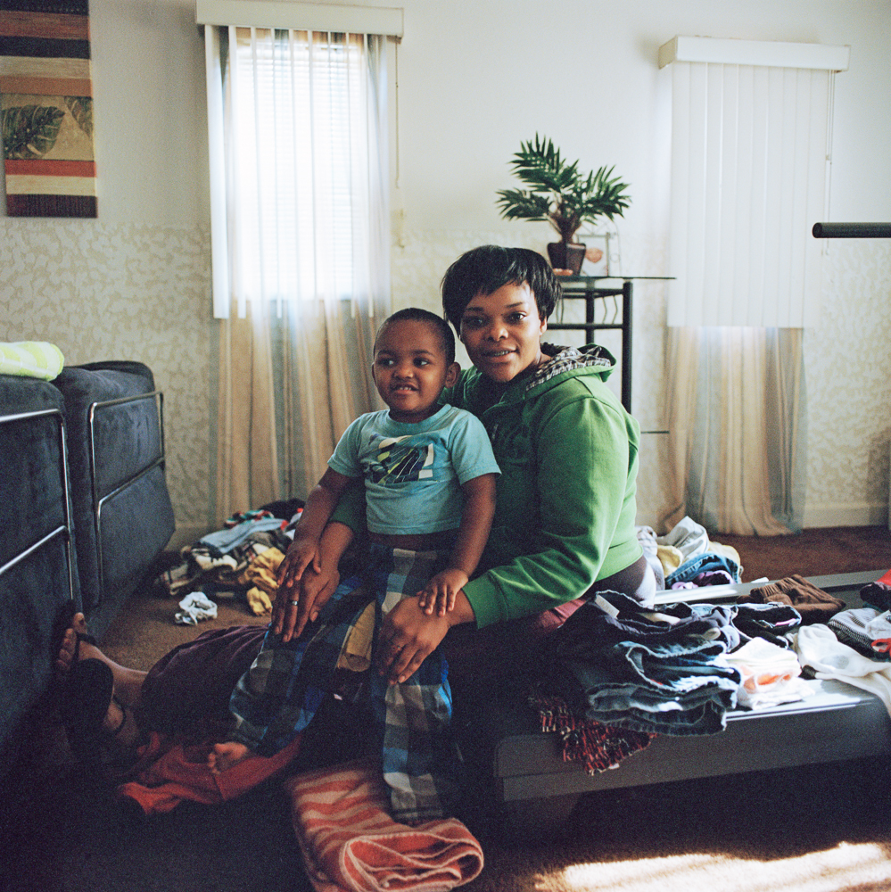 Stephanie and Santino, with laundry, Los Angeles  2013