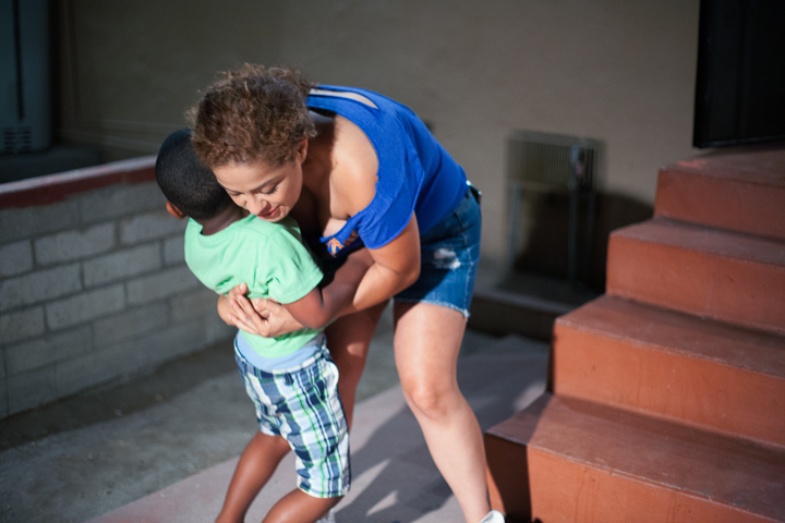 Cynthia hugging Santino, 4, Los Angeles  2014