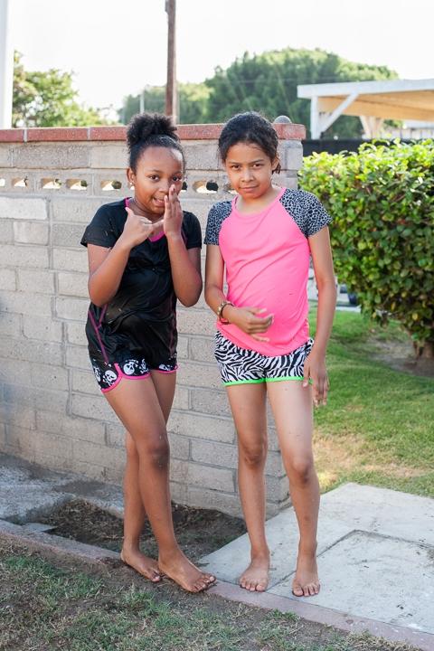 Alanni and Mia in rashguards, Los Angeles, California  2014