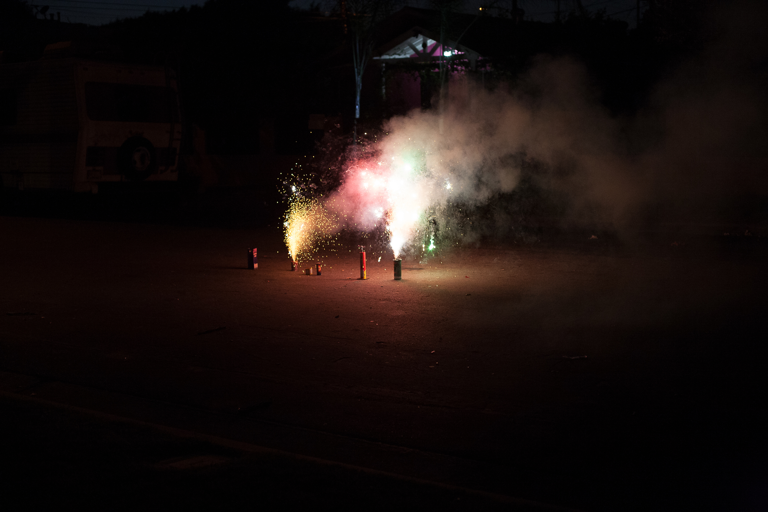 Fireworks on East 88th Street, Los Angeles  2014