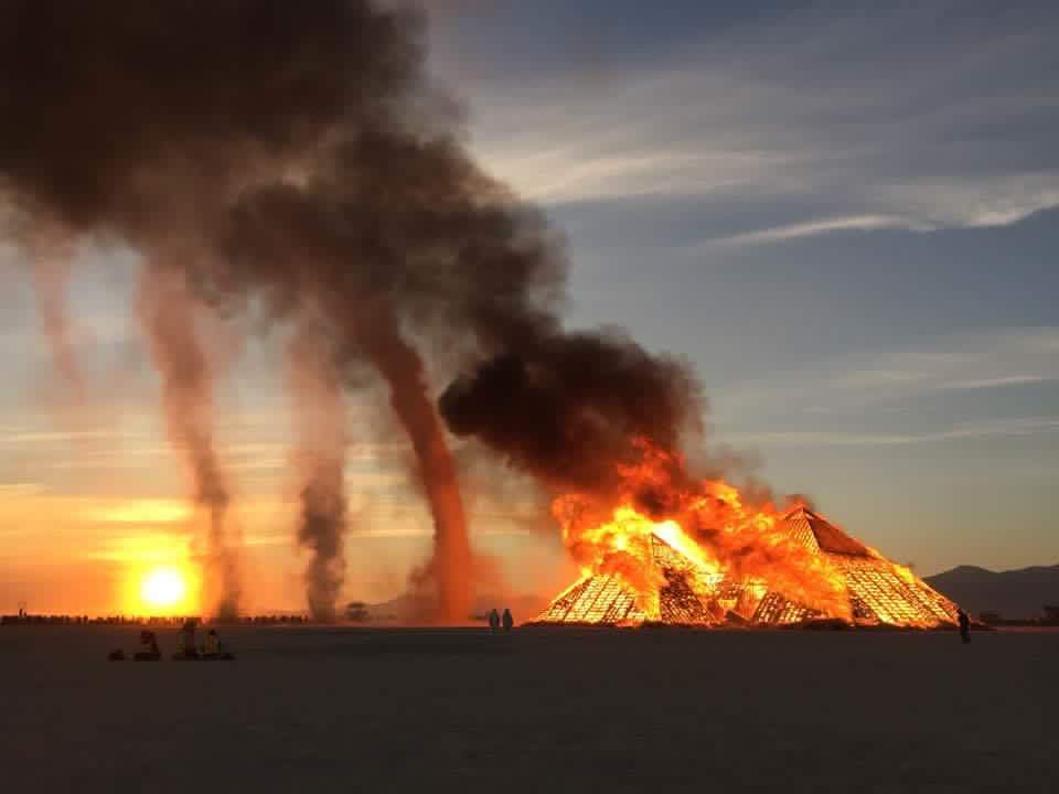 A large fire as the Catacomb of Veils burned on Friday at sunrise.