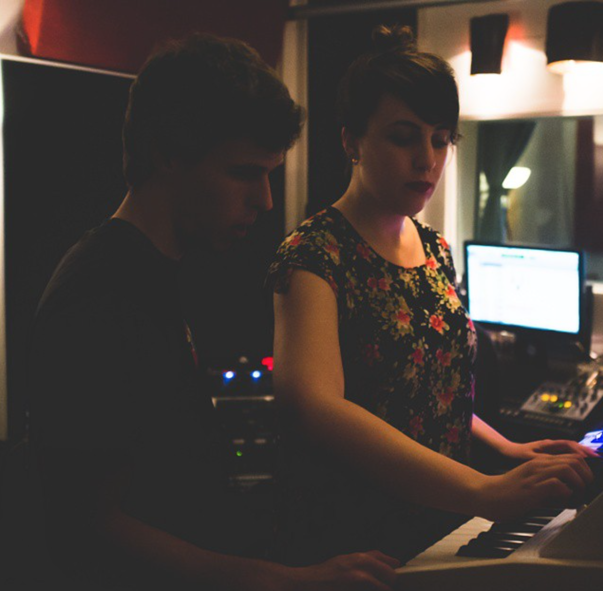 Greg and myself, playing the synth. Photo by Harley Small, my wonderful producer.