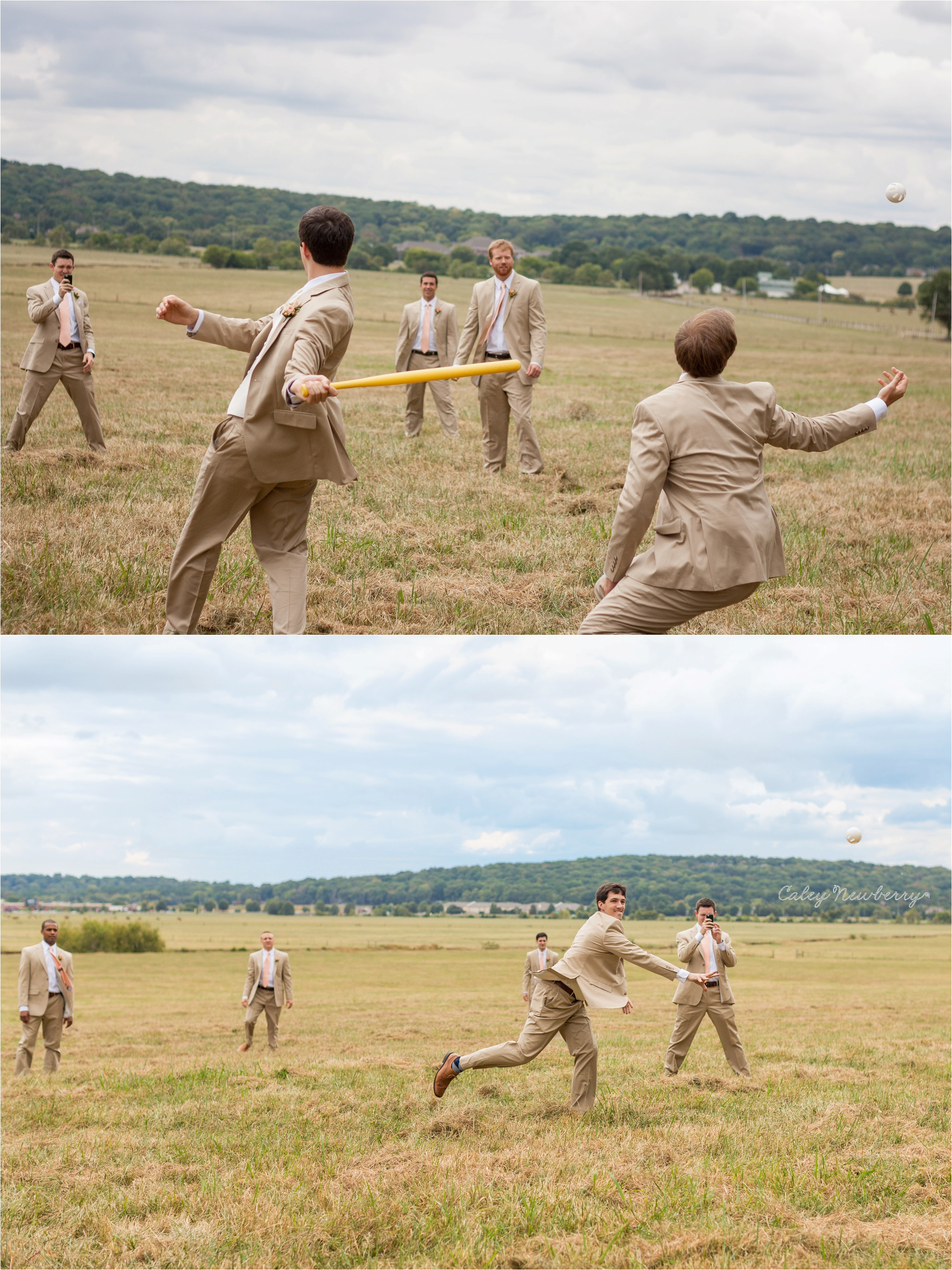 groomsmen-playing-baseball-in-suits