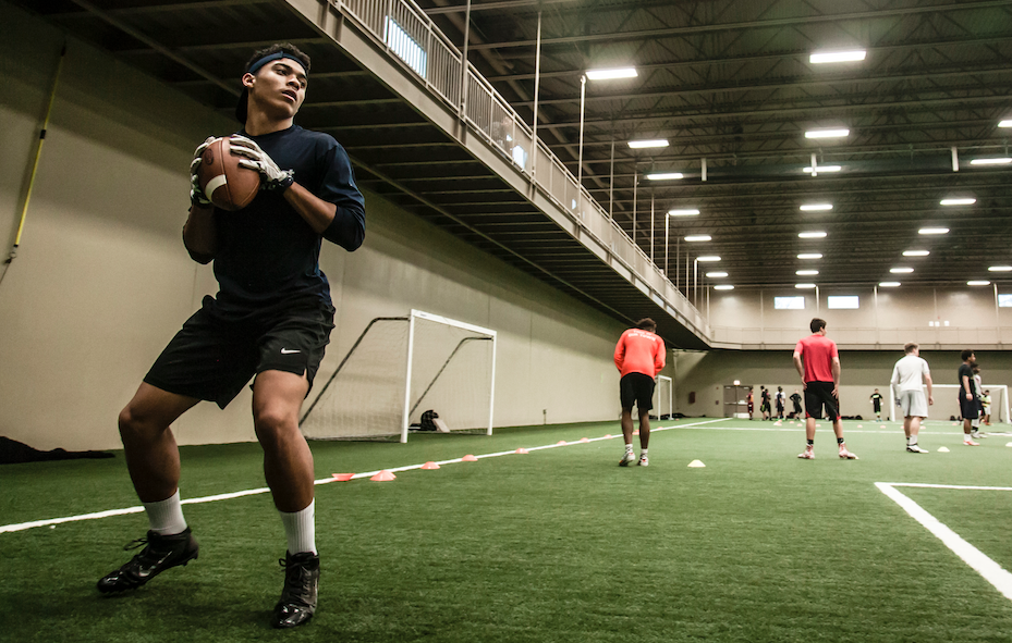 Jaylon Banks trains during a winter group session in December at Next Level Athletix in Chicago