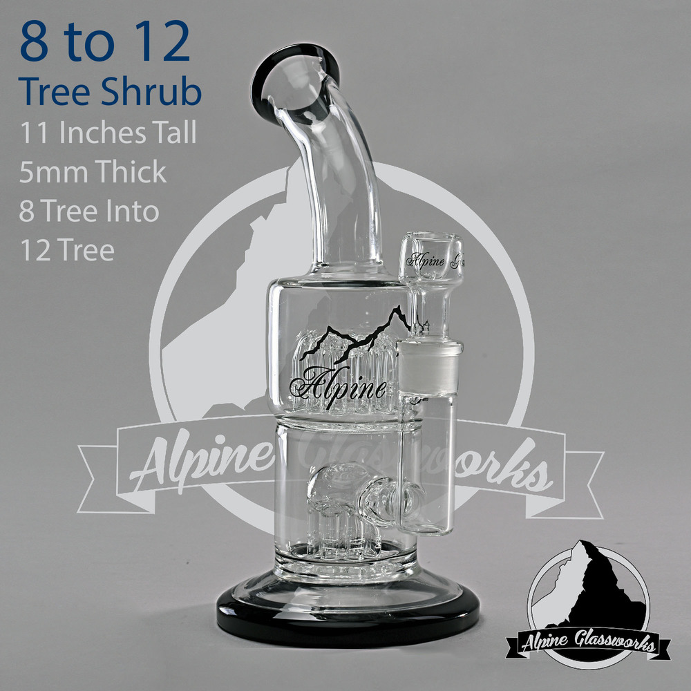Bong with standout black trim - 12 inches tall