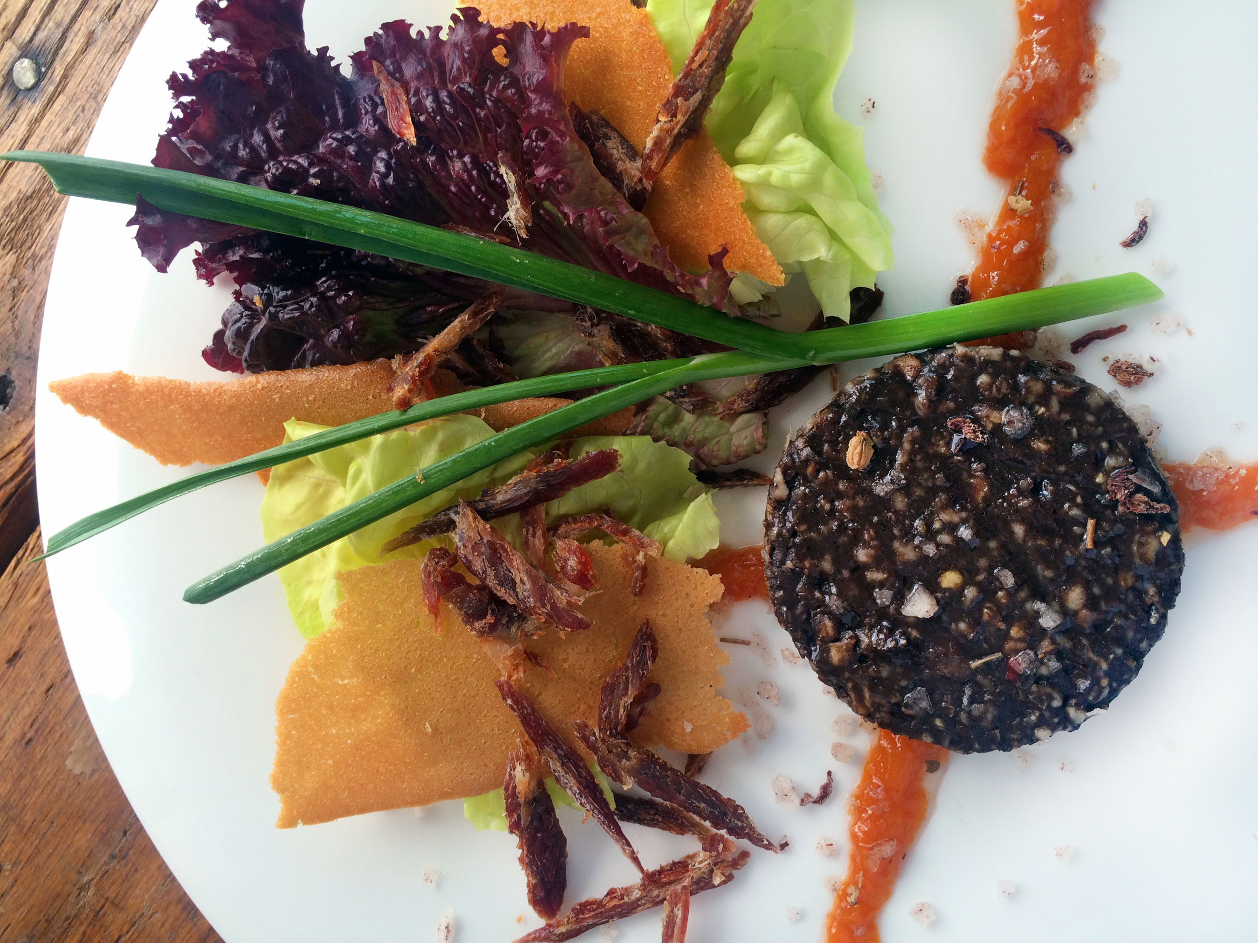 Pork Jerky & Black Pudding, Marmite Tuile, Market Greens, Spiced Carrot Marmalade