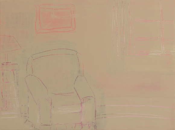 BEHIND THE CHAIR, 2014, acrylic on canvas, 12 x 16""