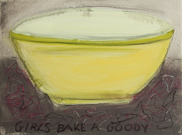 GIRLS BAKE A GOODY, 2014, acrylic on canvas, 12 x 16""