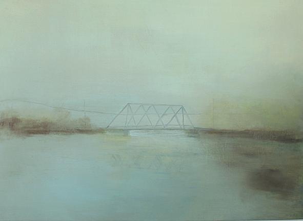 "Bridge, 2014, acrylic and graphite on canvas, 35.5 x 48.5"""
