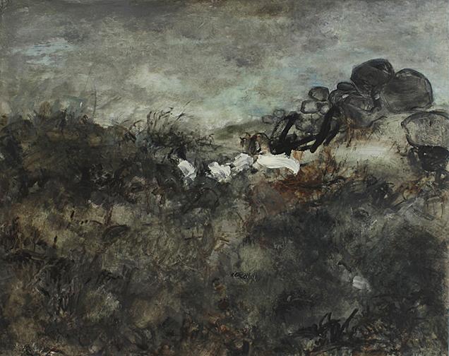 "Finally Here, 2013, acrylic on canvas, 39 x 49"""