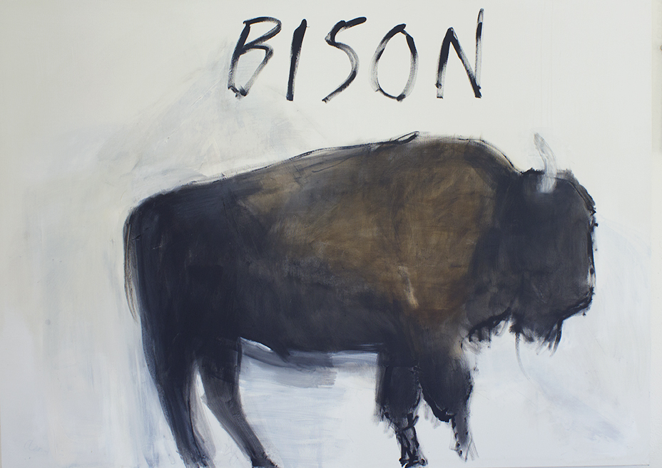 Bison, 2018, acrylic on canvas, 51 x 71""