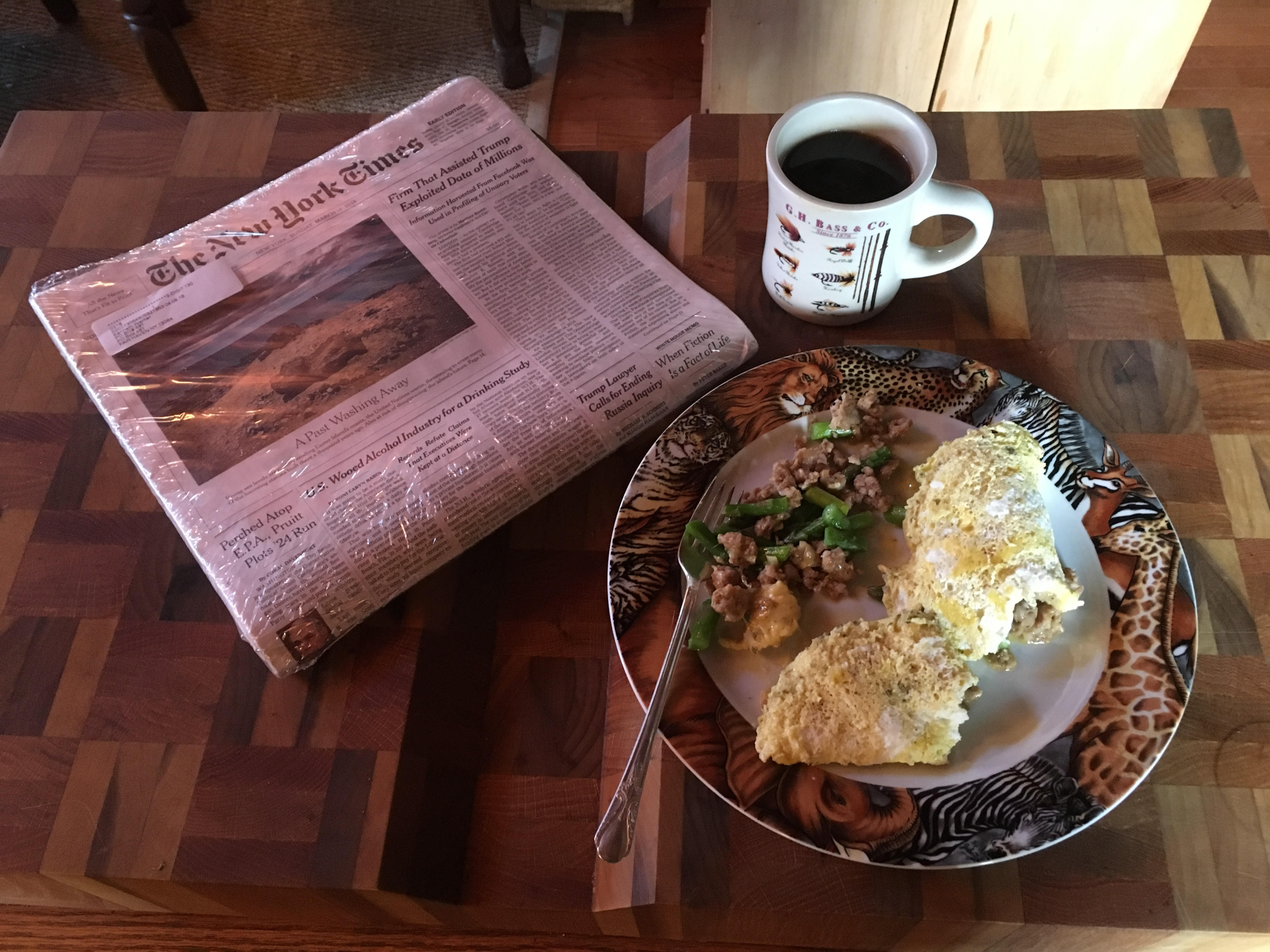 Sunday morning coffee and breakfast in exile with the New York Times.