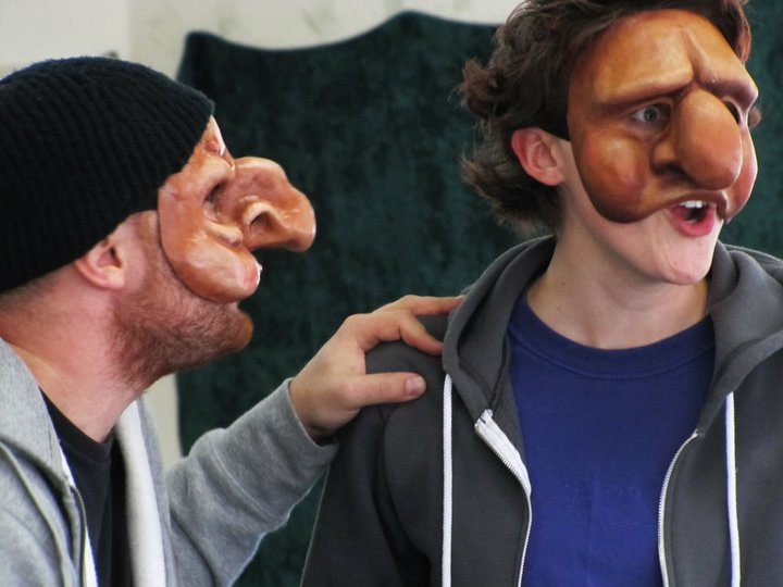 Ruxy as Max in Commedia dell'Arte Stupino Mask, pictured with Ryan Musil