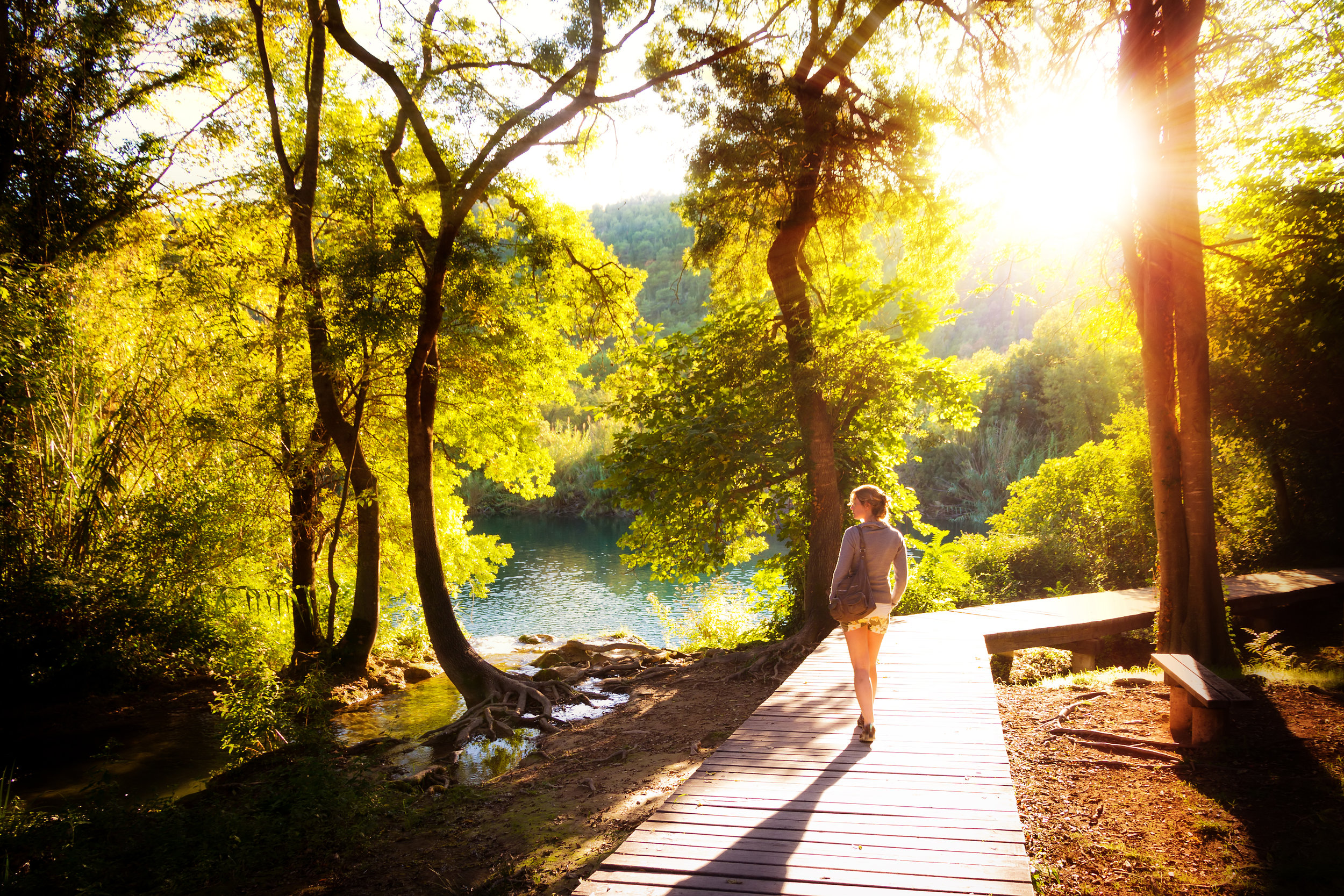 Walk by trees and lake sunshine shutterstock_128818372.jpg