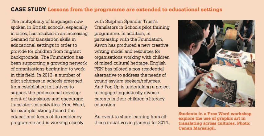 The project I did with schools during my Free Word residency is featured in Gulbenkian's 2013/14 annual review.