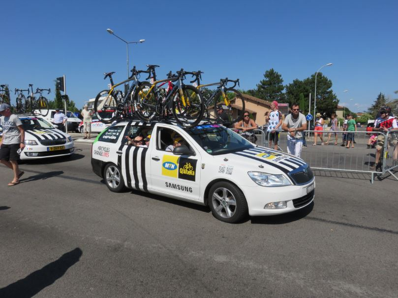Team Qhubeka's team car in the 2015 Tour de France