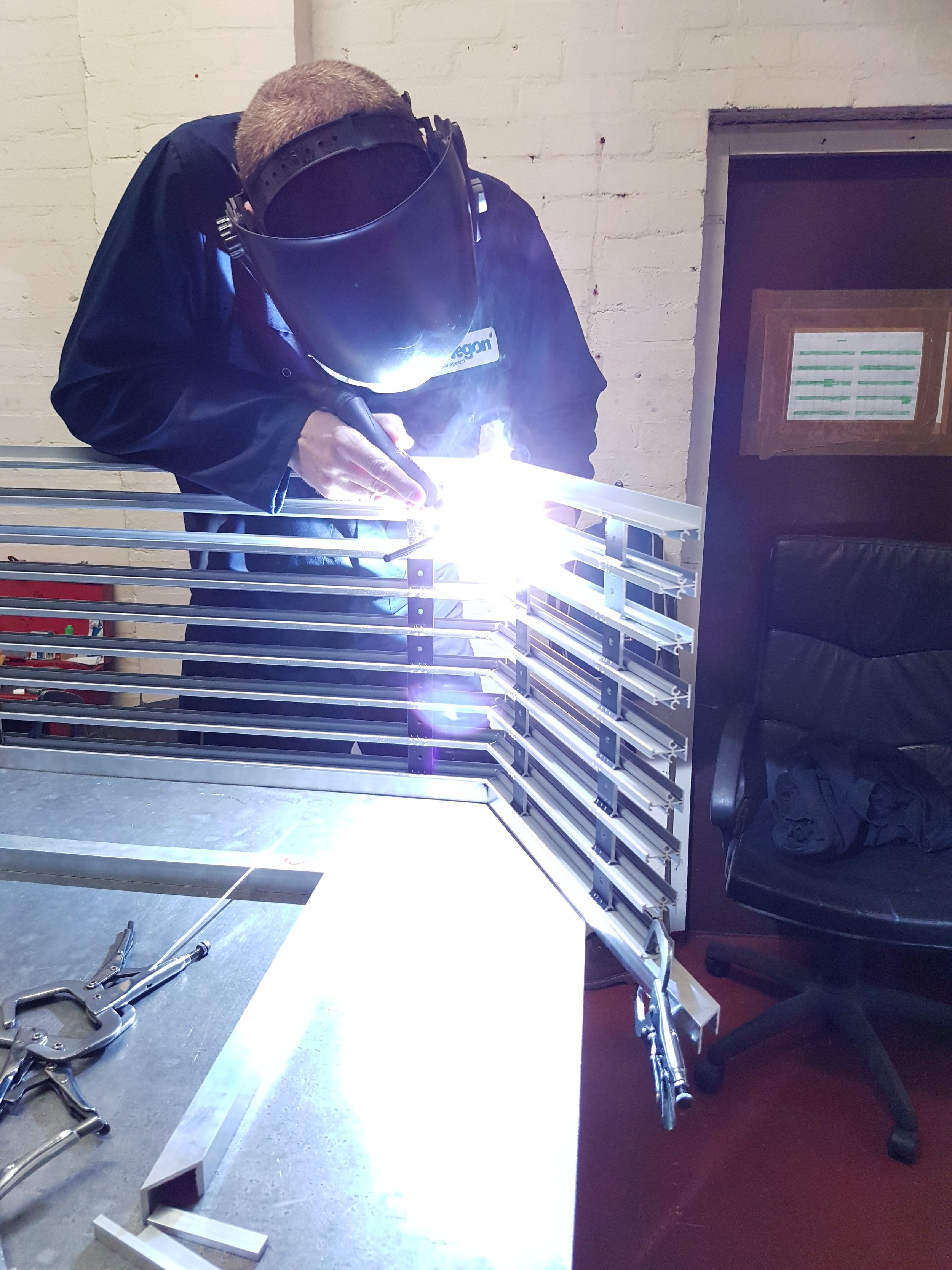 The bespoke linear slot diffusers getting welded together at the Air Diffusion manufacturing site in Bridgnorth.