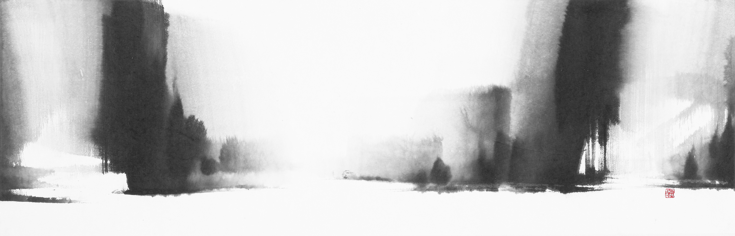 II. Opening of His Light, 46X140cm,ink on paper, 2010.jpg