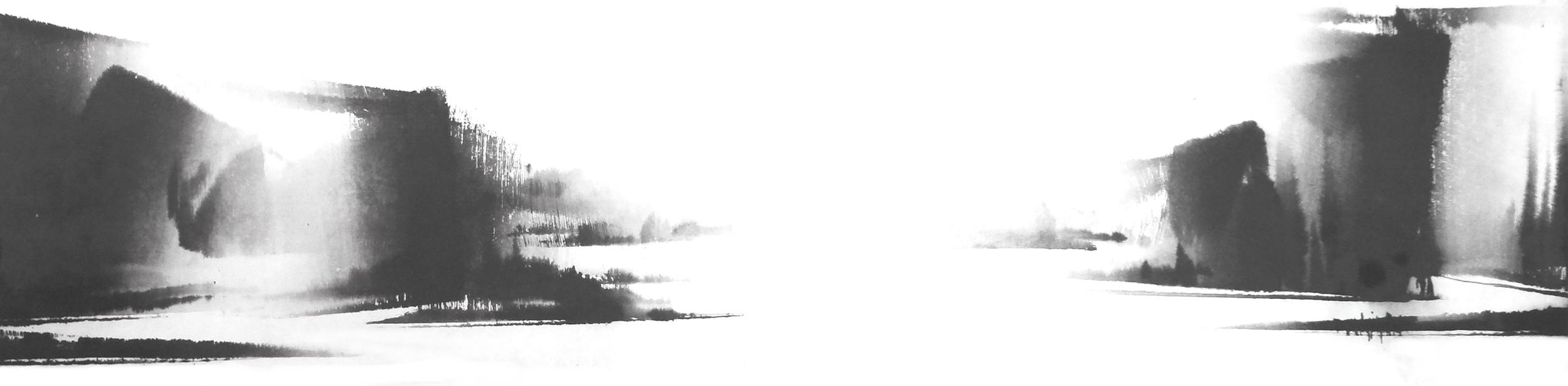 h.빛 다시 Again in His Light, 38X140cm, ink on paper, 2012.JPG
