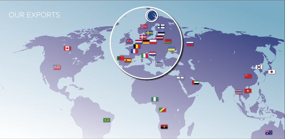 Our products are exported to countries all over the world