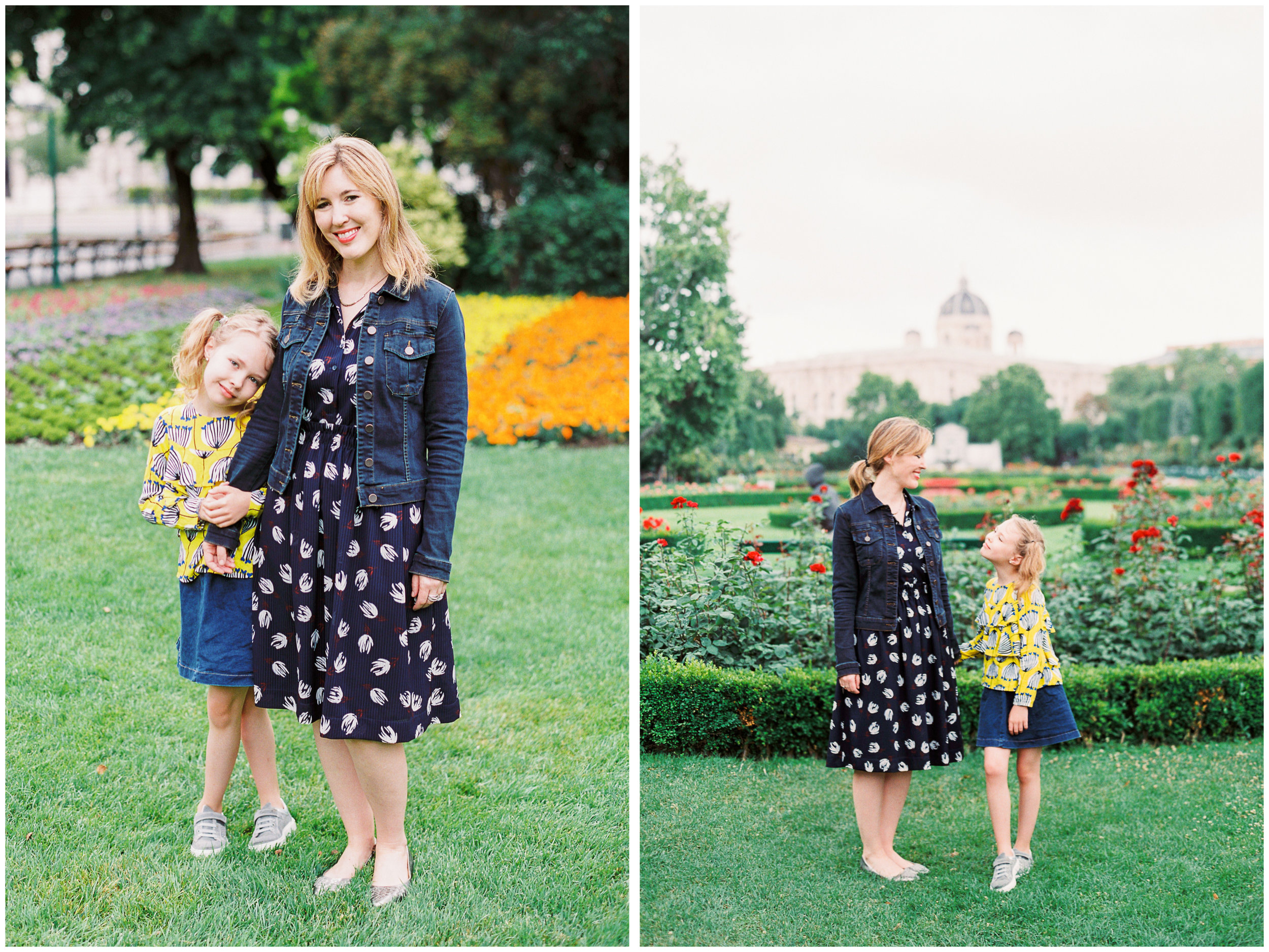 Mother and Daughter film photo session in Volksgarten, Vienna