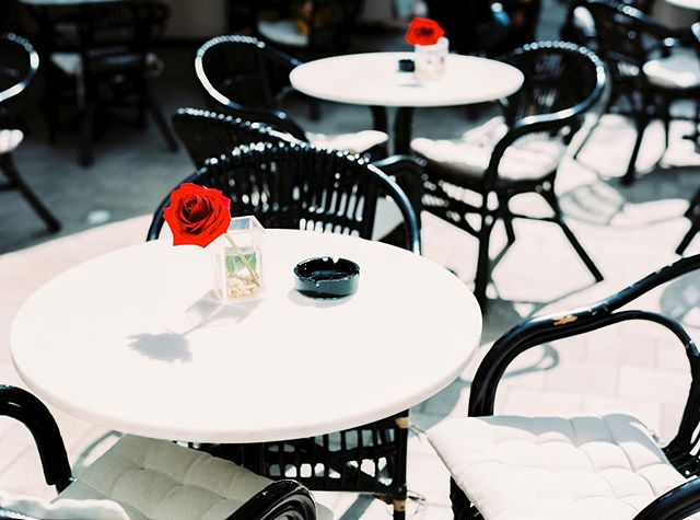 I use Sundays to find cute brunch cafes with freshly cut roses on the table.🌹☕️ Taken on a #contax645 on #fujinps160, developed and scanned by @carmencitalab.