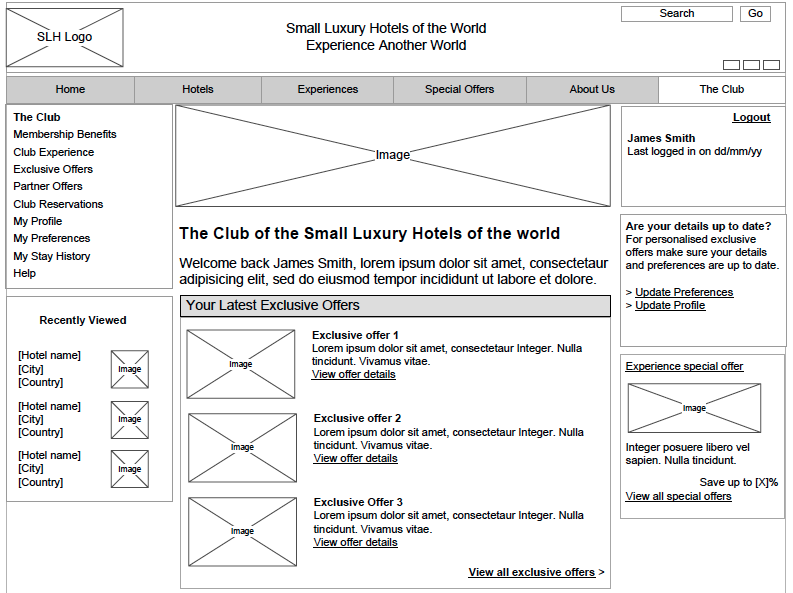 Small Luxury Hotels Website - Wireframe