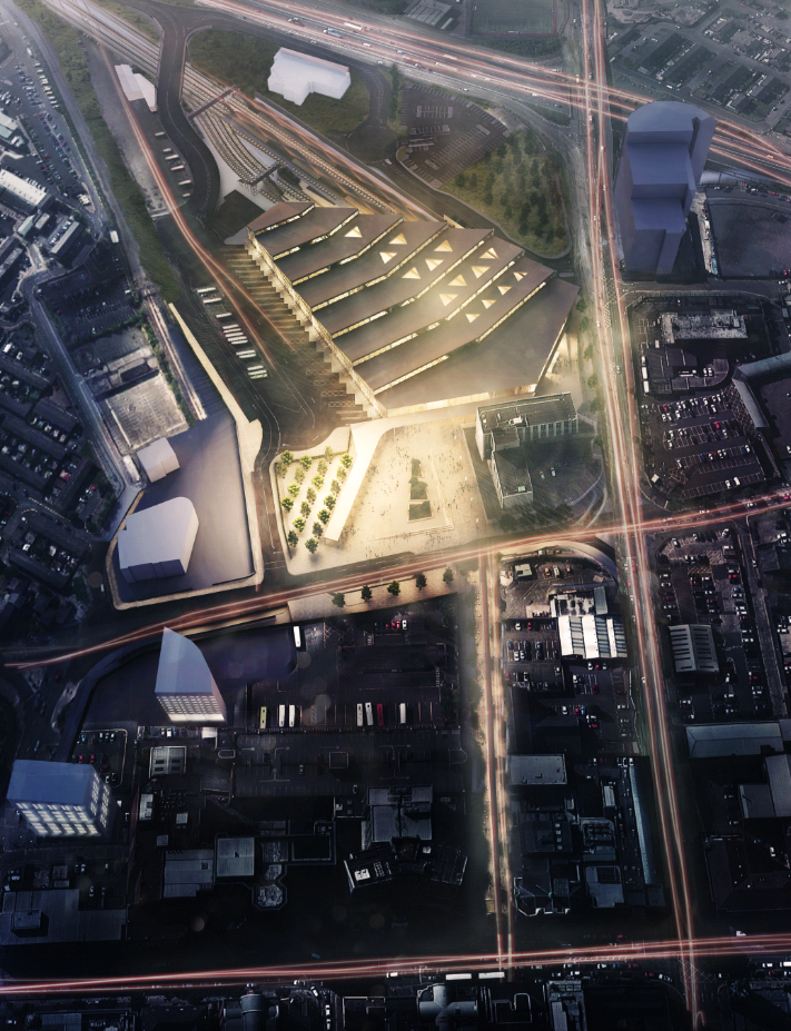 Night aerial view of the proposed Belfast Transport Hub