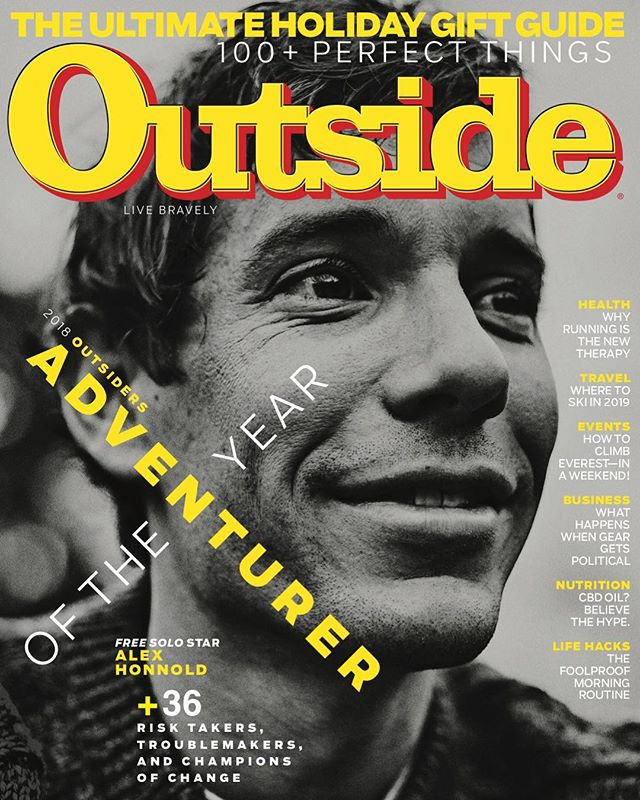 We are both proud and excited to announce that @alexhonnold has been named @outsidemagazine's 2018 Adventurer of the Year! Their newest edition hits newsstands on Tuesday, November 13th. Congratulations, Alex. You deserve it. #SoDelighted | #FreeSolo