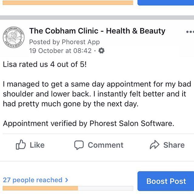 Sports Massage with Chantal #Cobham #cobhamsbestkeptsecret #thecobhanclinic #osteopathy #sportsmassage #acupuncture #skinrejuvination #facial #caci #environ #skinpen #exerciserehab #sportsinjury #microneedling #antiageing #beautytherapy
