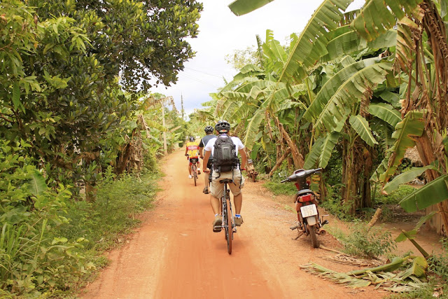 Cycling the Mekong Delta. Our route pretty much looked like this the whole time