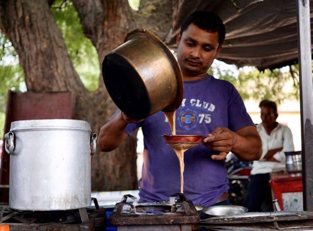 A chai seller prepares his brew in Jaipur, India