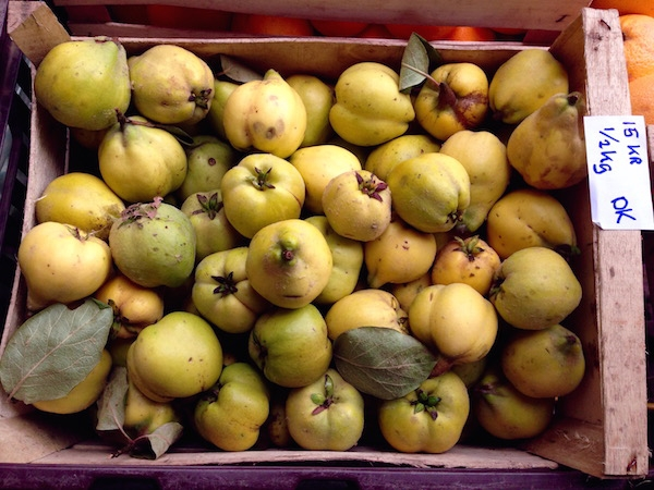 Luckily, finding my esoteric favourite fruits isn't a problem here: quinces for sale in the Aarhus market.
