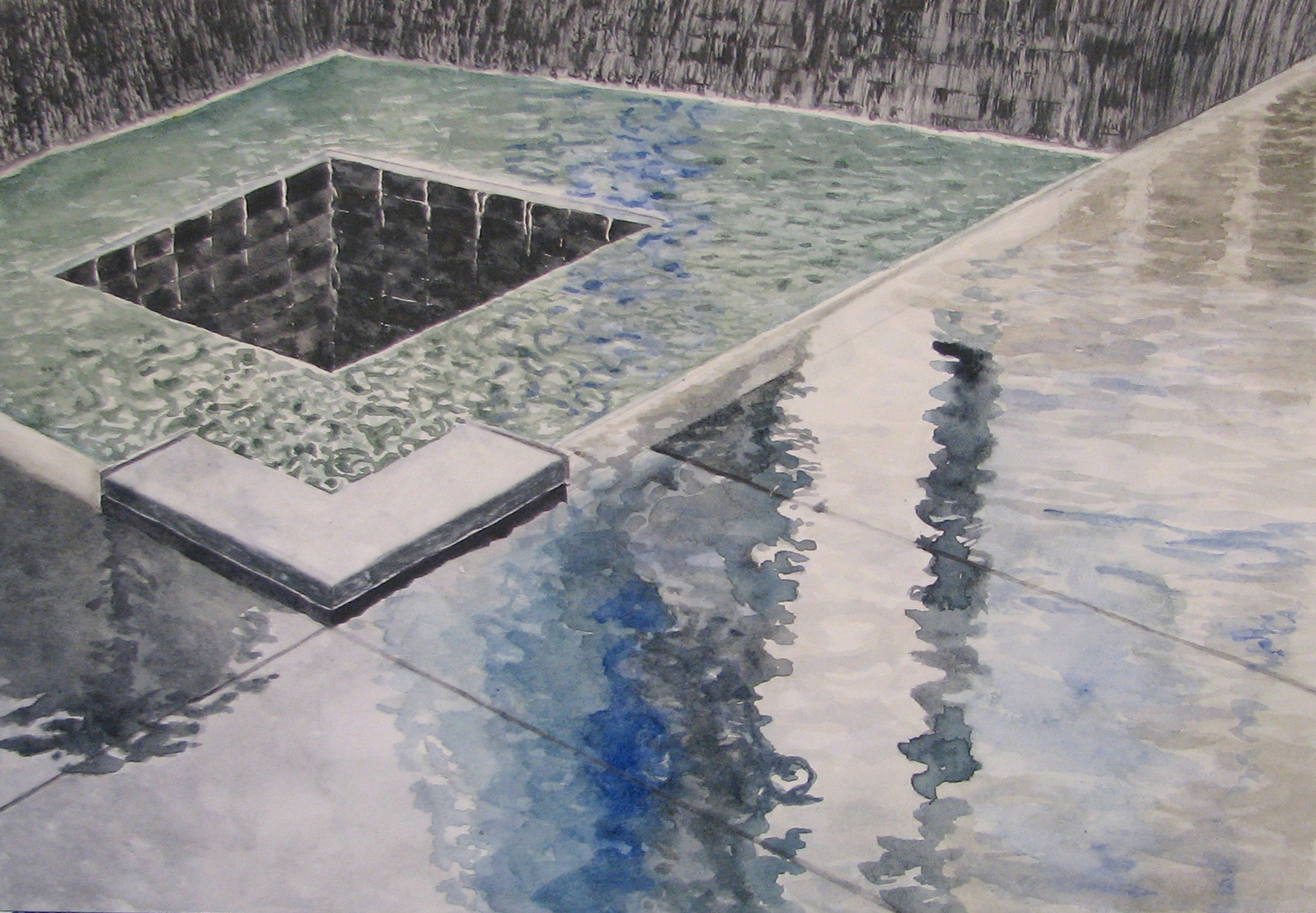© Gayle Mahoney,  World Trade Center Memorial , original watercolor painting on paper, 2015