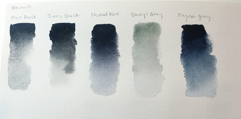 Watercolor neutrals from the tube