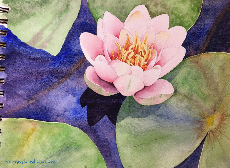 Limited watercolor palette test painting - Waterlily