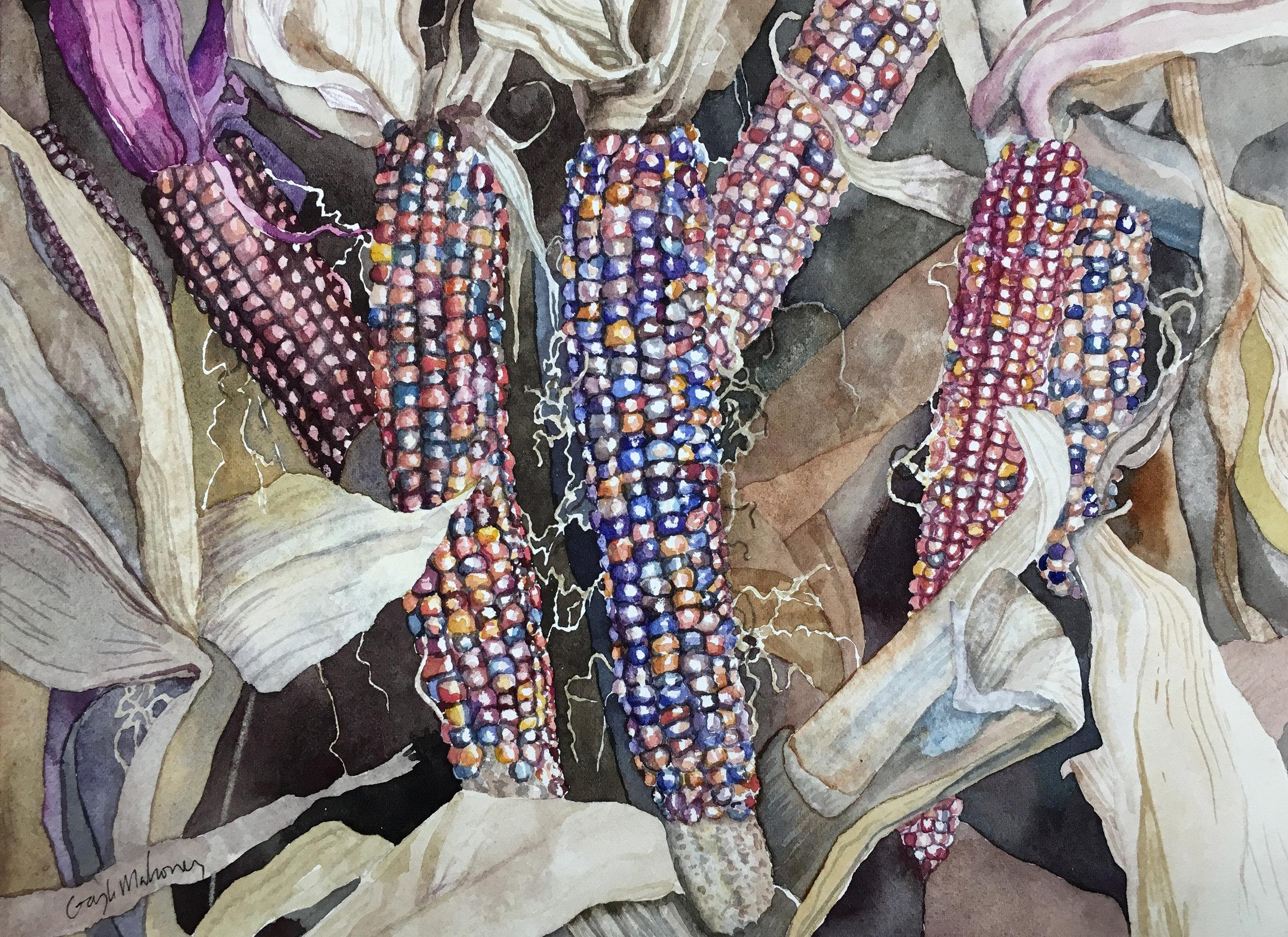 Autumn Corn , watercolor on Fabriano Artistico cold pressed paper, ©Gayle Mahoney