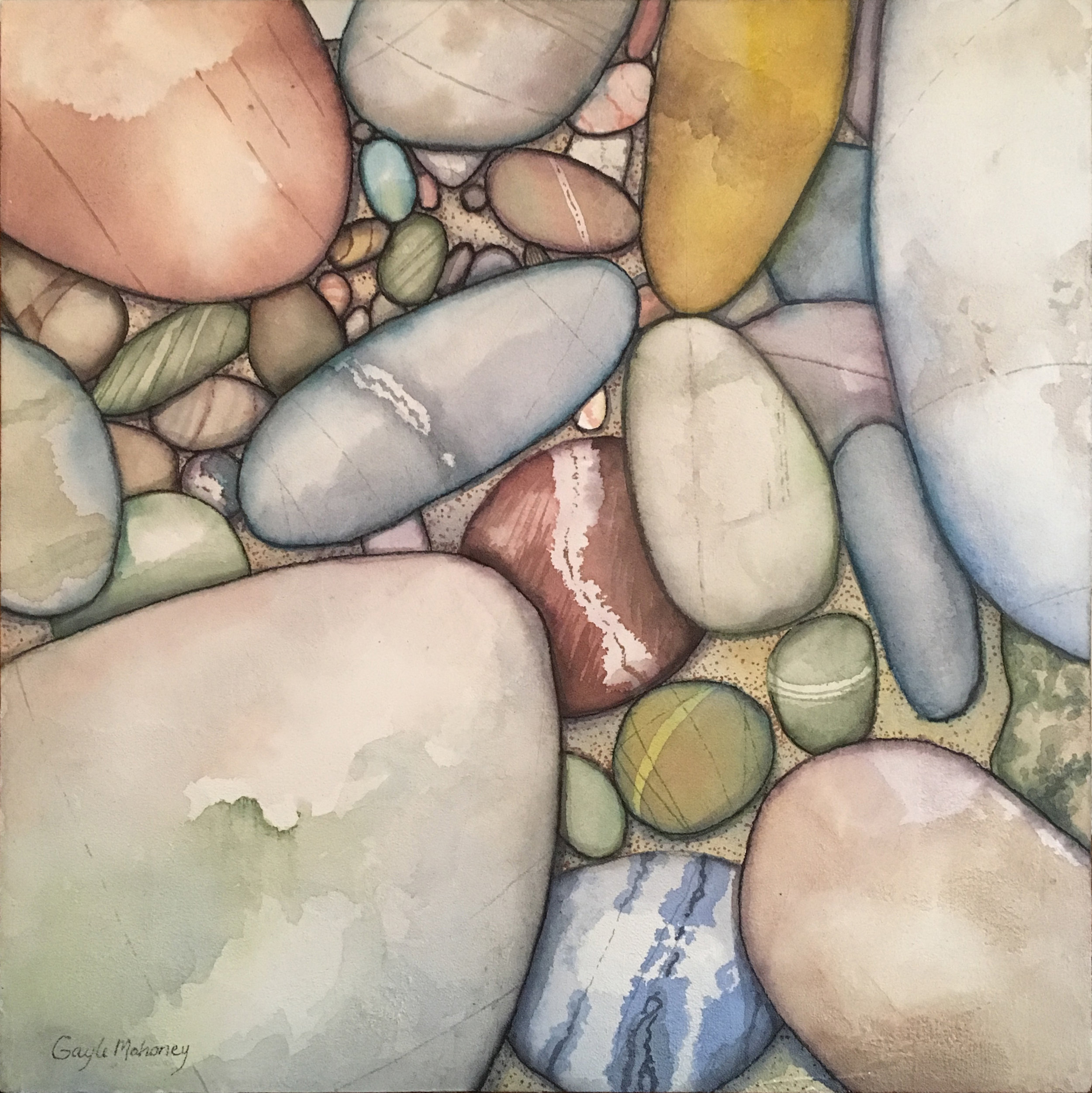 River Stones One  - Watercolor and Marabu Graphix Aqua Pens on Acryl Mousse ©Gayle Mahoney