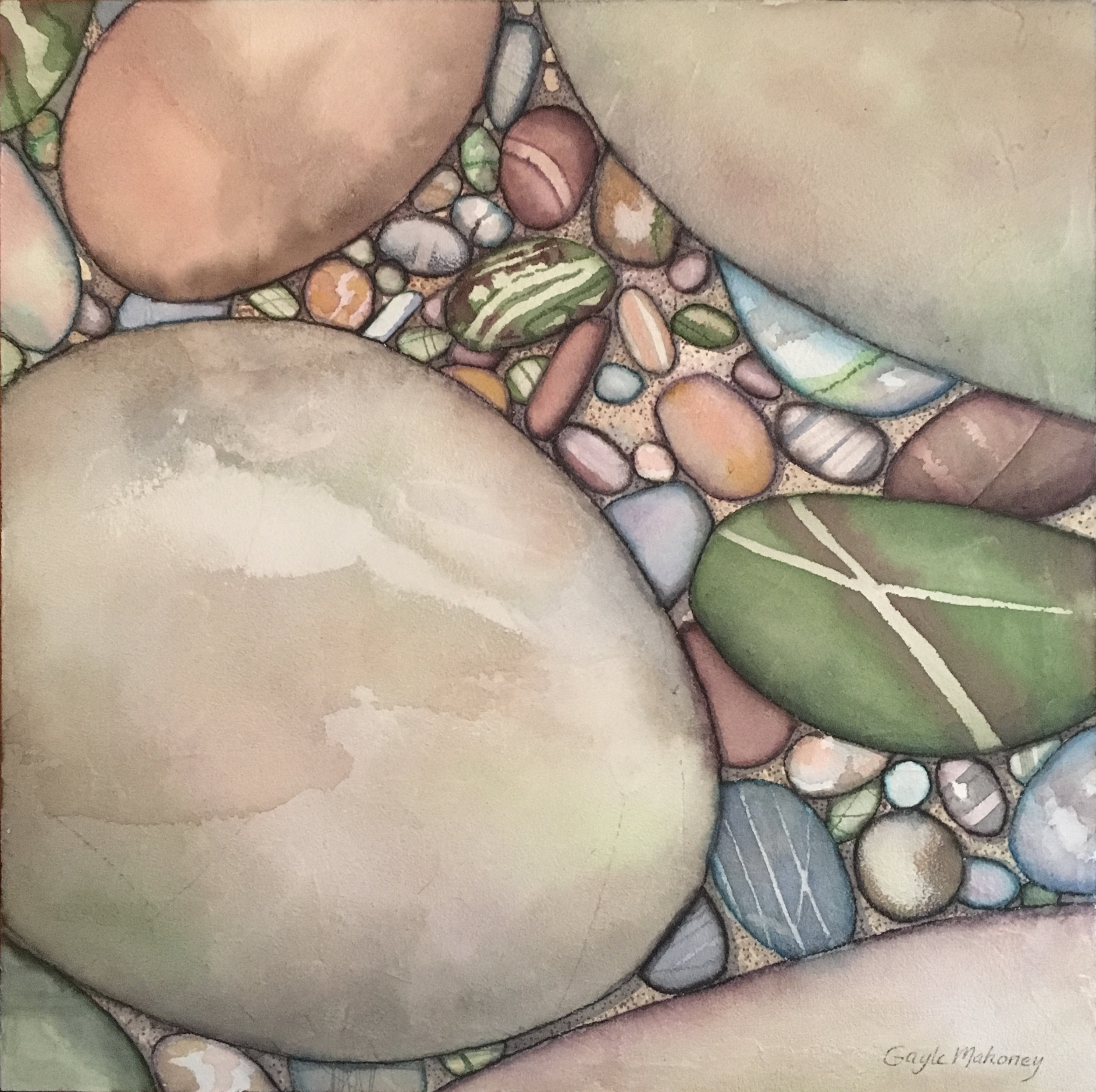 River Stones Two  - Watercolor and Marabu Graphix Aqua Pens on Acryl Mousse ©Gayle Mahoney