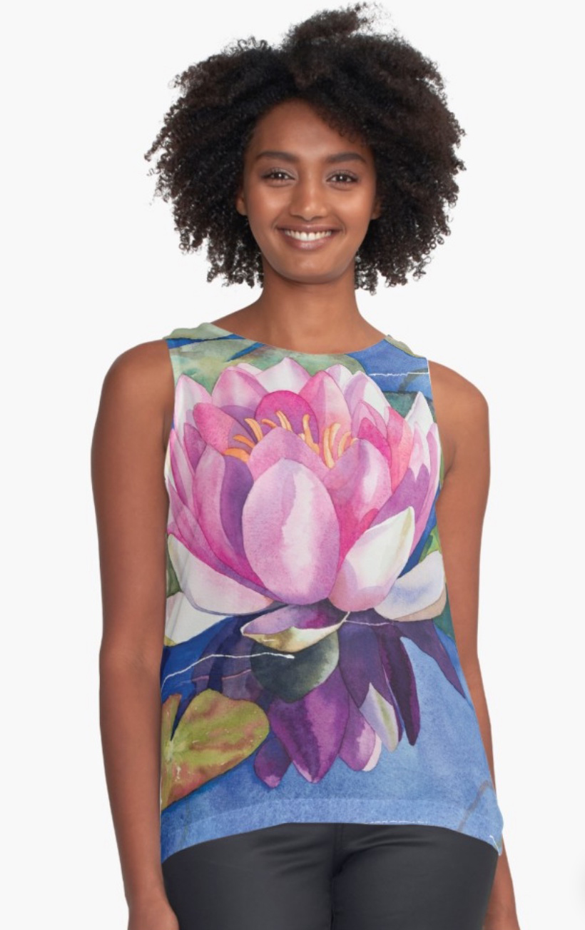 Pink-Water-Lily-Womens-Contrast-Tank.jpeg