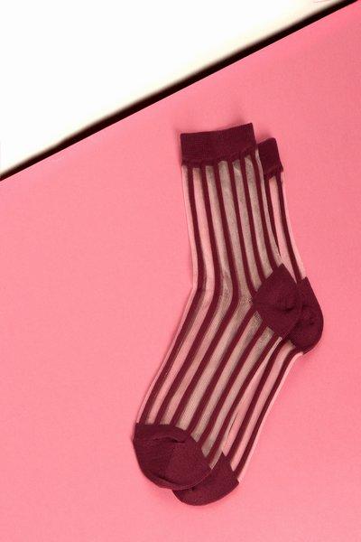 Tabio Striped Mesh Socks