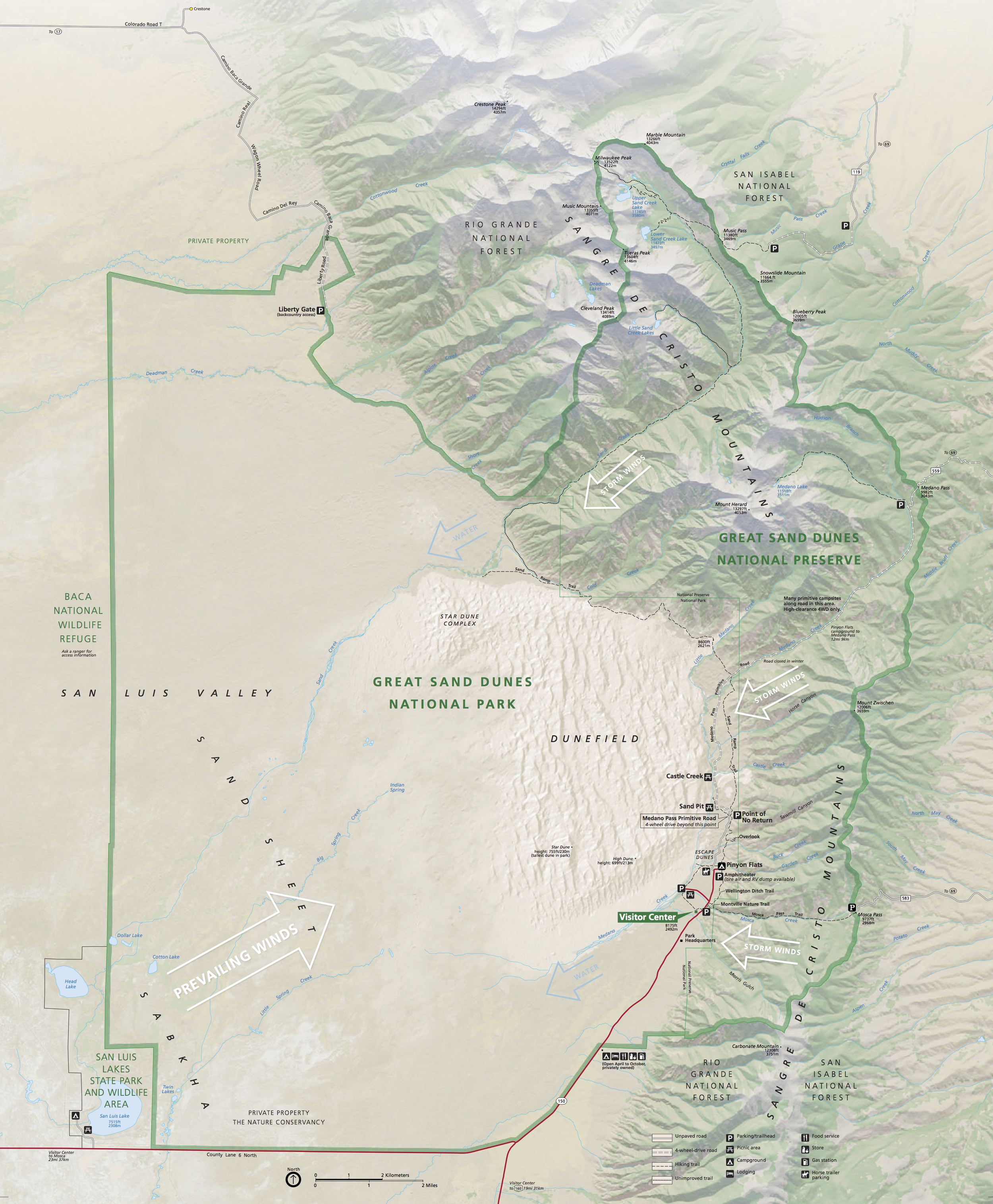 Map Of Great Sand Dunes National Park