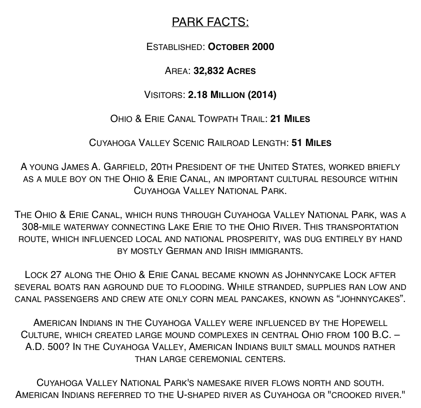 Cuyahoga Valley National Park Facts