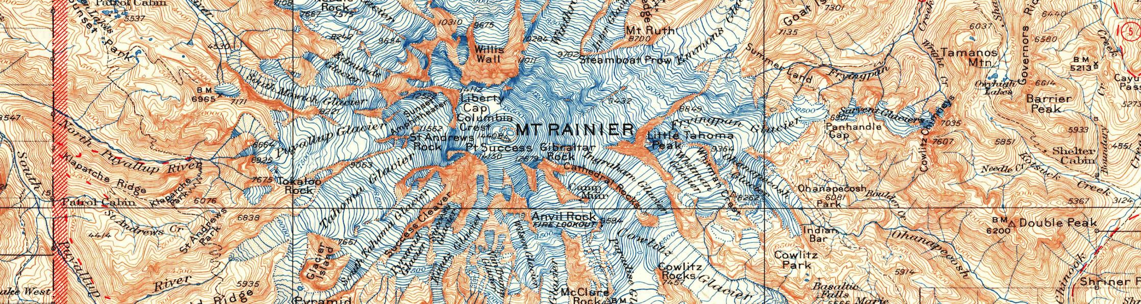 Mount Rainier National Park 1928 USGS Topographical Map