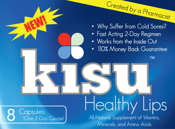 KISU is a tailored combination of amino acids, vitamins, minerals and proteins all in one capsule developed to be the first oral OTC cold sore medication that works from the inside out.
