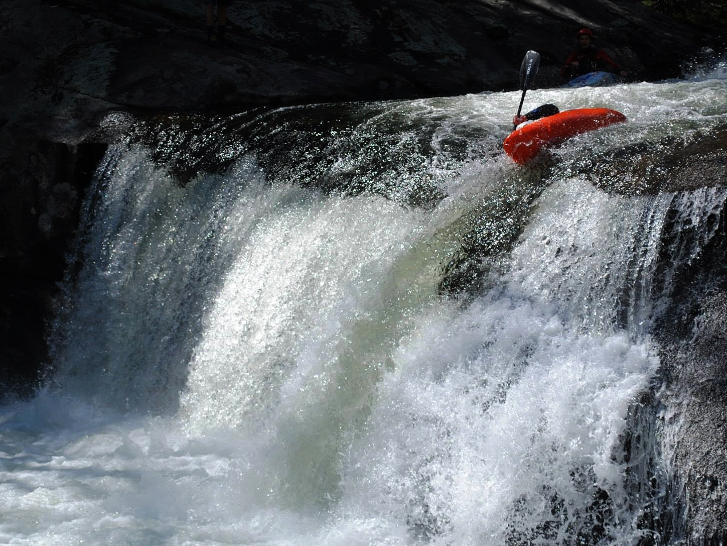 Taking an earful at Baby Falls - photo by Brian Payne