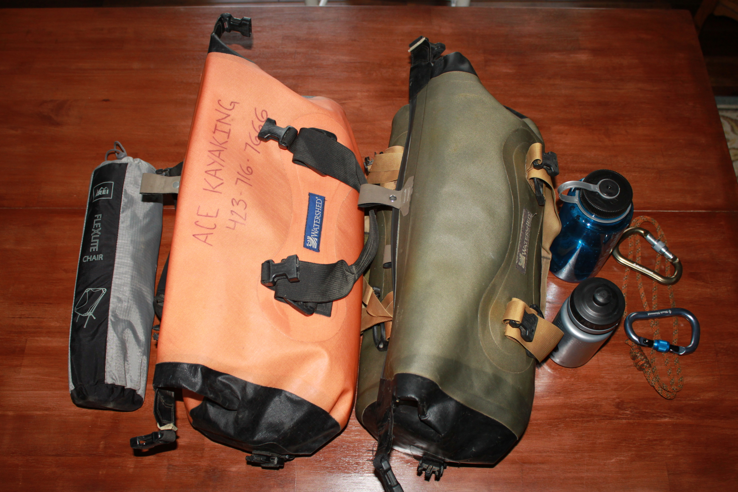 This is my base-level winter kit. Two Chattooga drybags, plus water bottles, and my luxuriant chair!