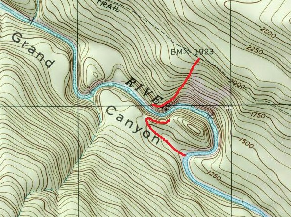 For anyone interested in scouting before dropping in, or just map geeks, I've marked my scouting routes for Nightmare in red here. The map is oriented North up, and the route on the north side didn't allow me to scout the blind turn but gave a good view of the other rapids. The route from the south side was shorter, easier, and gave a better view. Both require sure footing.