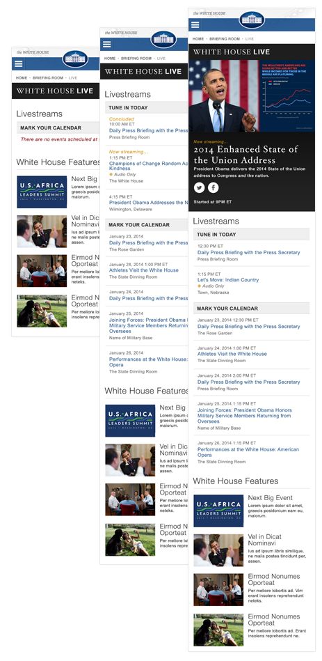 WhiteHouse.gov Live Section landing page at different states